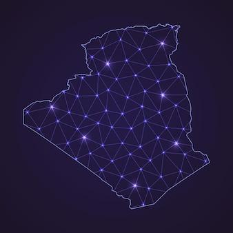 Mapa da rede digital da argélia. linha de conexão abstrata e ponto em fundo escuro