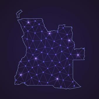 Mapa da rede digital de angola. linha de conexão abstrata e ponto em fundo escuro