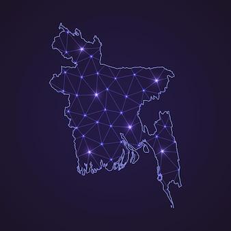 Mapa da rede digital de bangladesh. linha de conexão abstrata e ponto em fundo escuro