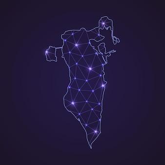 Mapa da rede digital do bahrein. linha de conexão abstrata e ponto em fundo escuro