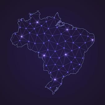 Mapa da rede digital do brasil. linha de conexão abstrata e ponto em fundo escuro