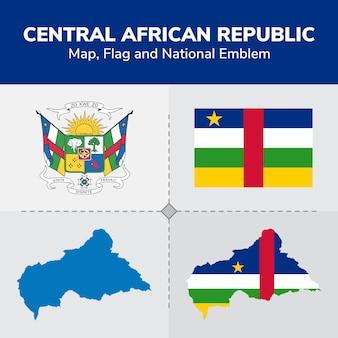 Mapa da república da áfrica central, bandeira e emblema nacional