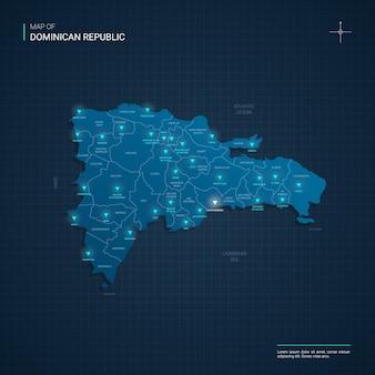 Mapa da república dominicana com pontos de luz de néon azul - triângulo em gradiente azul escuro