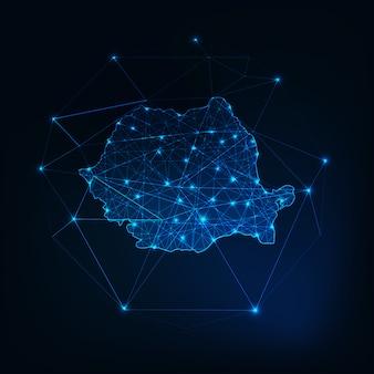 Mapa da roménia baixo poligonal brilhante silhueta contorno