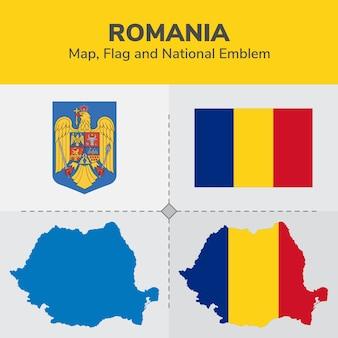 Mapa da romênia, bandeira e emblema nacional