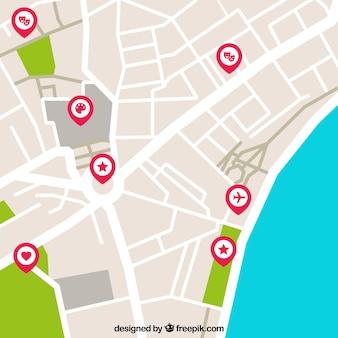 Mapa da rua com pinos