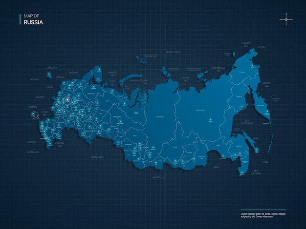 Mapa da rússia com pontos de luz neon azul