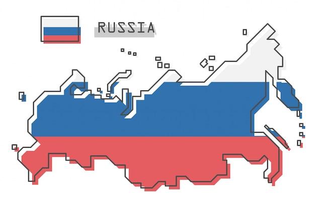 Mapa da rússia e bandeira