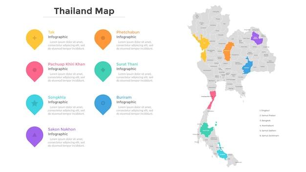 Mapa da tailândia dividido em províncias e áreas administrativas. mapa do país com indicação de divisões territoriais, fronteiras regionais. modelo de design moderno infográfico. ilustração em vetor plana.