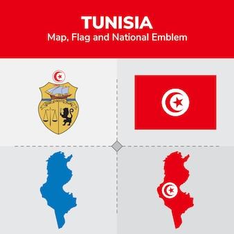Mapa da tunísia, bandeira e emblema nacional