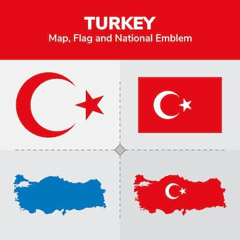 Mapa da turquia, bandeira e emblema nacional
