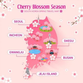 Mapa da viagem para a temporada de flor de cerejeira na coréia do sul