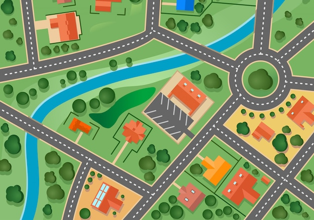 Mapa da vila do subúrbio para design de imóveis vendidos