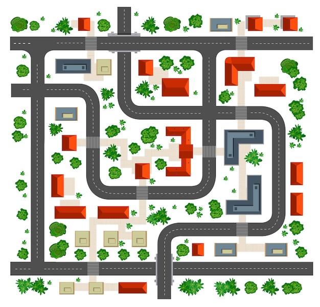 Mapa da vista superior de telhados, ruas, árvores e estradas em um fundo branco