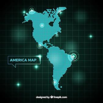 Mapa das américas com pontos