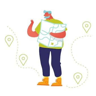 Mapa de aprendizagem turística de homem sênior decidindo qual caminho escolher pesquisar pontos turísticos.