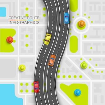 Mapa de arte de informação de ponto de estrada, plano de fundo de localização do mapa, ponto de transporte rodoviário, ilustração vetorial
