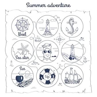 Mapa de aventura de verão