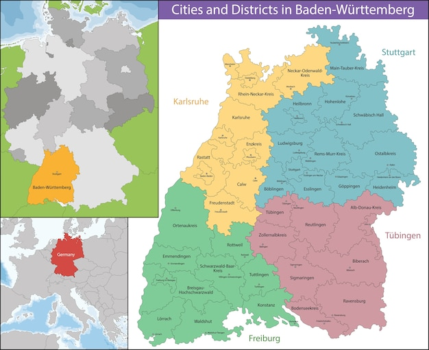 Mapa de baden-wurttemberg