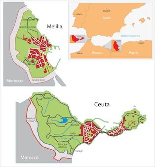 Mapa de ceuta e melilla