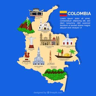 Mapa de columbia com marcos