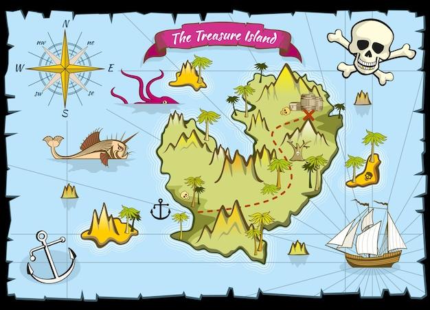 Mapa de cor de tesouro de pirata de vetor
