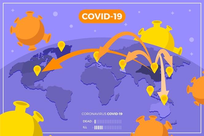 Mapa de coronavírus disseminação mundial do vírus