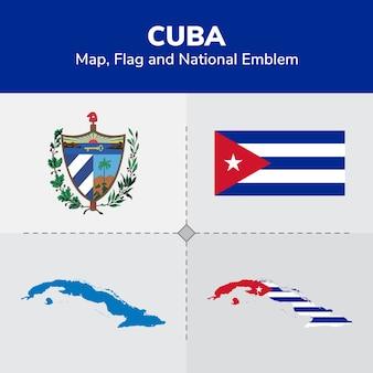 Mapa de cuba, bandeira e emblema nacional