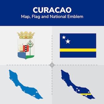 Mapa de curaçao, bandeira e emblema nacional
