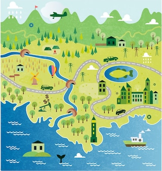 Mapa de desenho animado