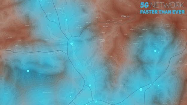 Mapa de elevação com zonas de sinal alto