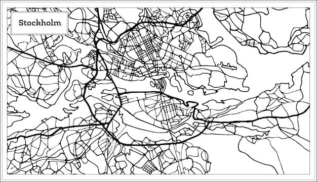 Mapa de estocolmo suécia em preto e branco. ilustração vetorial. mapa de contorno.