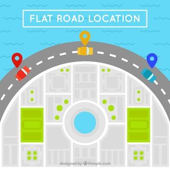 Mapa de estrada com carros coloridos no design plano
