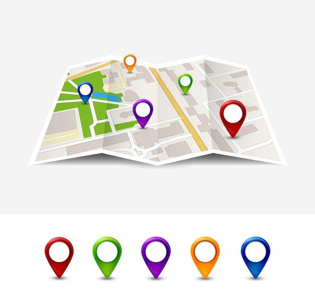 Mapa de estrada de vetor de ícone de pino de gps. marcador de rua de cidade para casa de viagem. ilustração de gps de navegação.