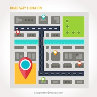 Mapa de estrada plana com vários pontos de referência
