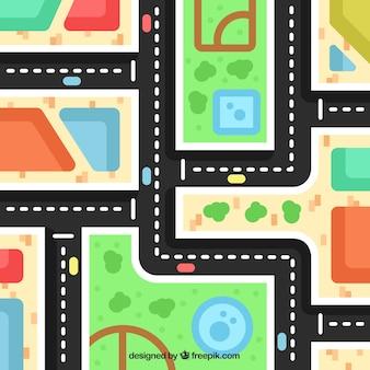 Mapa de estradas de cores em design plano