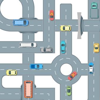 Mapa de estradas e carros