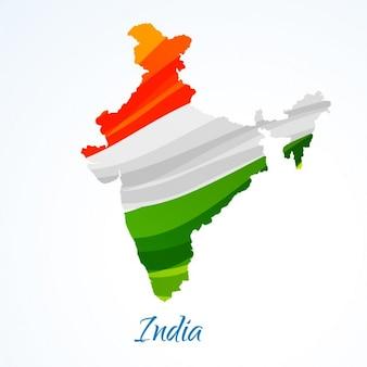 Mapa de india com tricolor