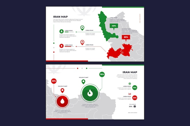 Mapa de infográfico de design plano do irã