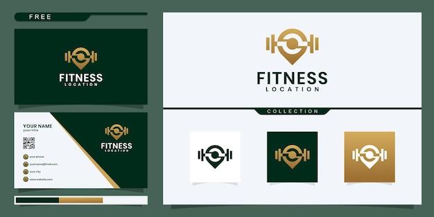 Mapa de localização de fitness ginásio esporte logo design