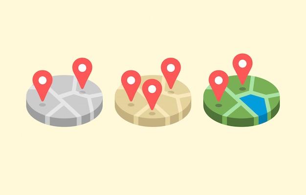 Mapa de localização set plana
