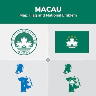 Mapa de macau, bandeira e emblema nacional