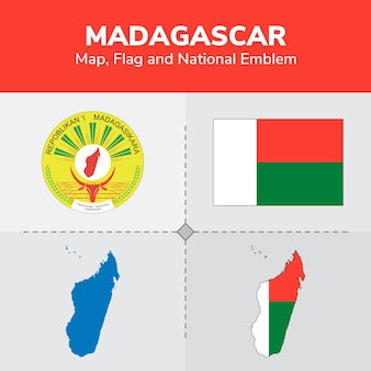 Mapa de madagascar, bandeira e emblema nacional