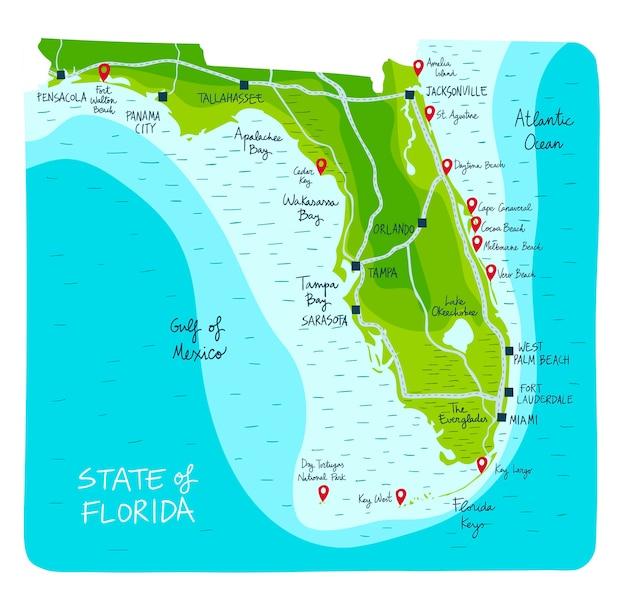 Mapa de mão desenhada da flórida com as principais cidades.