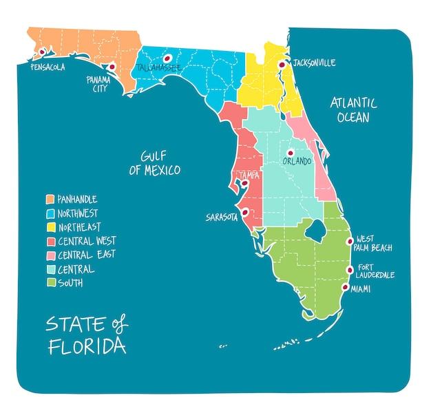 Mapa de mão desenhada da flórida com regiões e municípios
