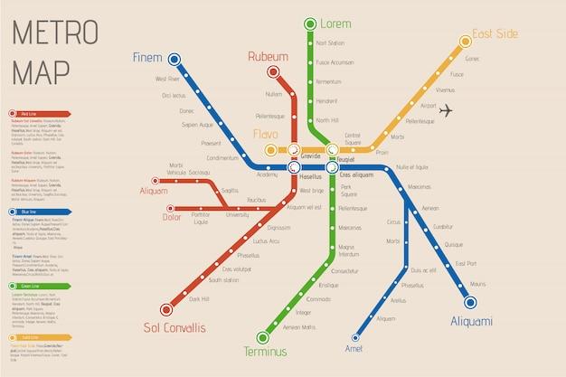 Mapa de metro de cidade realista