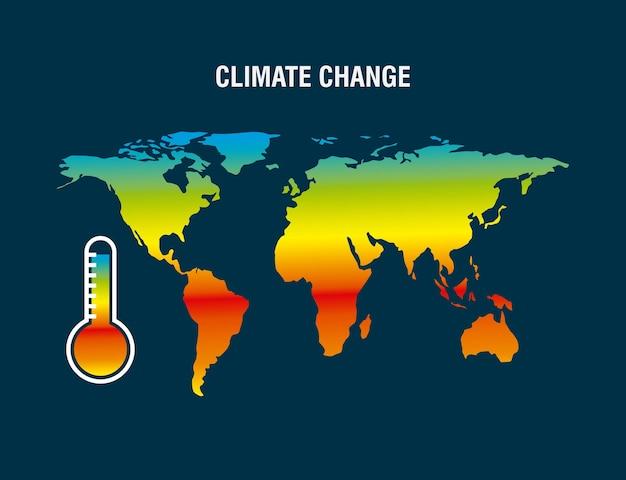 Mapa de mudanças climáticas termômetro de terra cor degradada