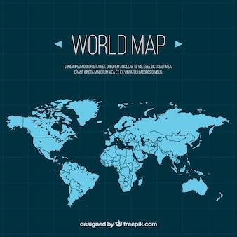 Mapa de mundo azul no design plano