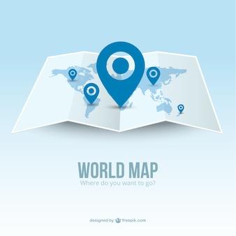 Mapa de mundo com ponteiros