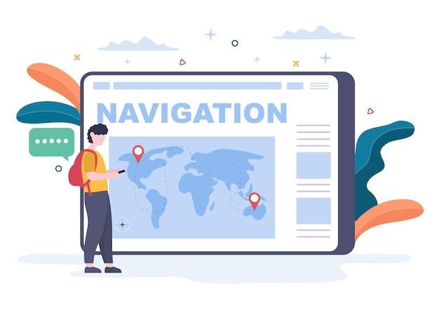 Mapa de navegação gps e bússola no aplicativo de pesquisa de localização mostra a posição ou rota que você está indo. ilustração em vetor de fundo